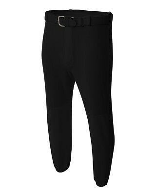 (Youth Medium (Waist 26/28), Black) - Youth Baseball Pull-Up Pants Moisture