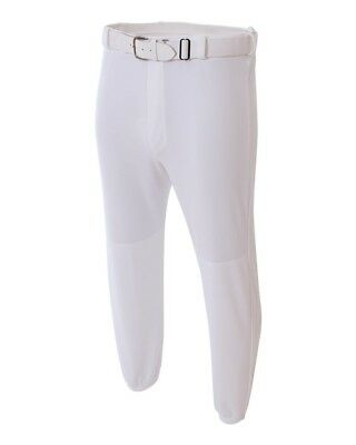 (Youth Large (Waist 28/30), White) - Youth Baseball Pull-Up Pants Moisture