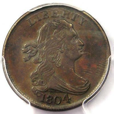 1804 Spiked Chin Draped Bust Half Cent (1/2C Coin) - Certified PCGS XF45 (EF45)