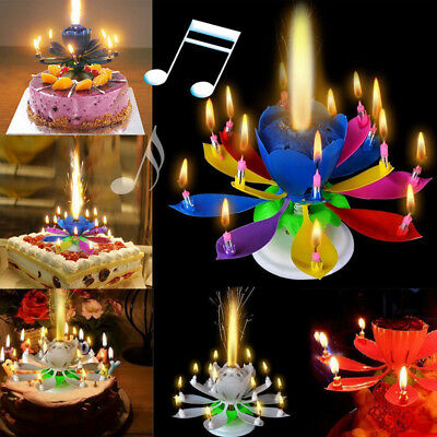 Cake Topper Birthday Lotus Flower Decoration Candle Blossom Musical Rotating Hot
