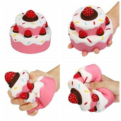 2pcs 11.5CM Jumbo Squishy Strawberry Cake Scented Super Slow Rising Kid Toy Cute