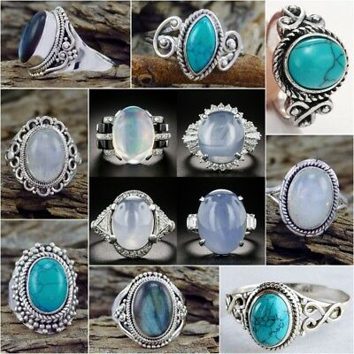 Women Fashion 925 Sterling Silver Turquoise MoonStone Ring Wedding Jewelry 6-10