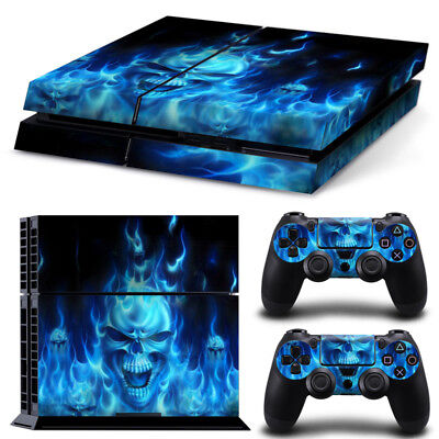 Skin for Sticker Sony Playstation4 PS4 Console&Controller Decal Skull Blue Fire