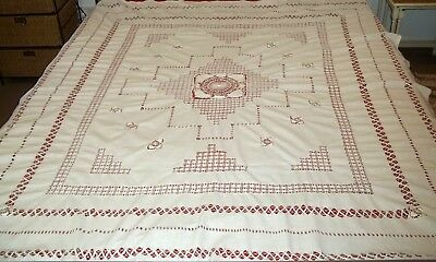 Antique English White Cotton and Cobweb Lace Bedspread or Tablecloth