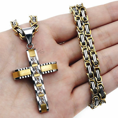 5MM Mens Boys Silver Gold Stainless Steel Byzantine Chain Cross Pendant Necklace