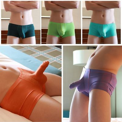Men's Underwear Bulge Pouch Cotton Boxer Briefs Soft Shorts Underpants