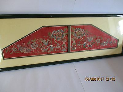 Chinese embroidered silk marriage collar in a display frame