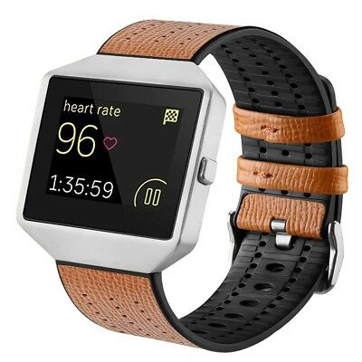 (Brown with sliver frame) - Fitbit Blaze Bands with Frame, TENGL Leather TPU