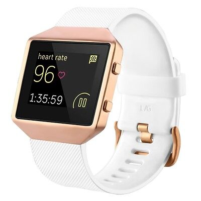 (White with rose gold frame, Small) - Fitbit Blaze Bands with Frame, TENGL TPU