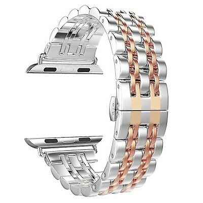 (Rose Gold - 42mm) - Apple Watch Band, PUGO TOP 38mm Stainless Steel Metal