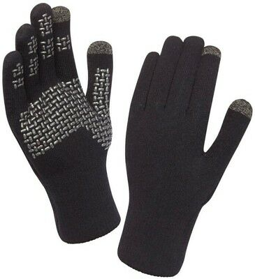 (Black/Silver, Large) - SealSkinz Ultra Grip Touchscreen Waterproof Gloves