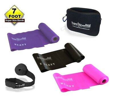 (e. HEAVY STRENGTH Pink Purple Black SET) - SUPER EXERCISE BAND 2.1m Latex