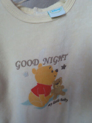 DISNEY 3 mois pyjama mixte velours jaune bébé winnie TBE