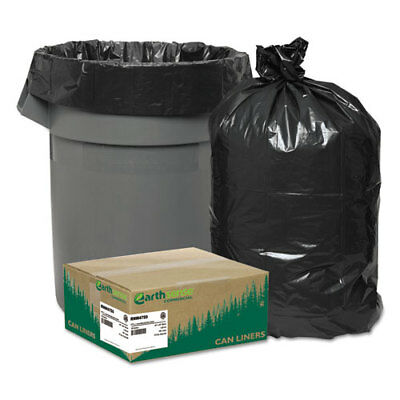 Recycled Can Liners, 56gal, 1.25mil, 43 x 48, Black, 100/Carton