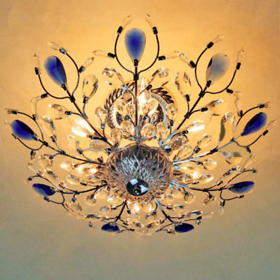 Double Color LED Crystal Peacock Ceiling Light Home Decoration
