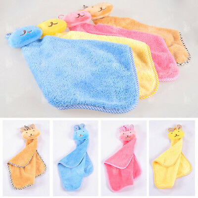 Newborn Boys Girls Sofrt Coral Velvet Cartoon Rabbit Baby Towel 43cm X 23cm