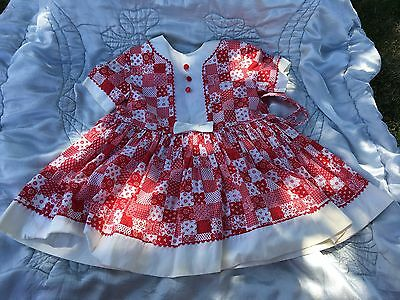 Vintage 1940's Red White Check  Baby Infant Girl Party Dress Mary Jane