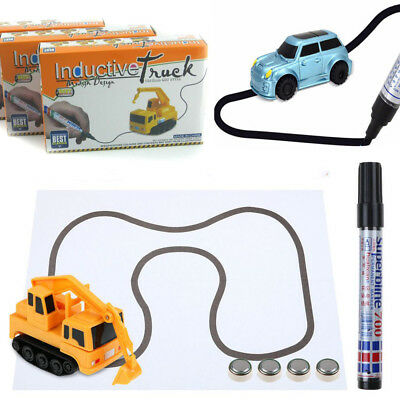 Magic Follow Any Drawn Line Pen Inductive Toy Car Truck Bus Tank Tracking NEW