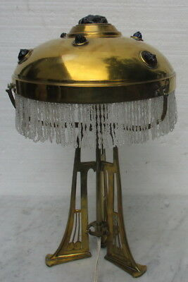 art nouveau  Austria Vienna brass & glass  table lamp