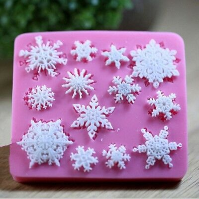 3D Silicone Snowflake Fondant Mold Christmas Cake Candy Decorating Baking Mould