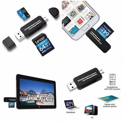 SD MicroSD Memory Card Reader USB OTG to USB2.0 Adapter PC Android Phone Tablets