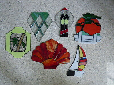 Vintage Stained Glass  Lot Art Deco