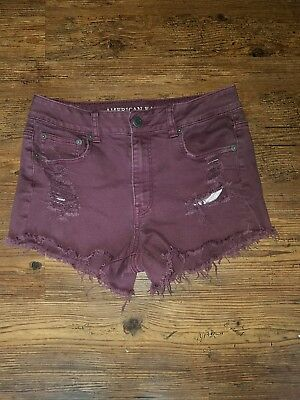 women's American Eagle high-waisted distressed Jean stretch shorts size 10