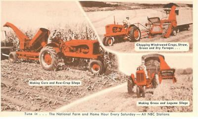 POST CARD ADVERTISING ALLIS CHALMERS WD Tractor HARVESTER