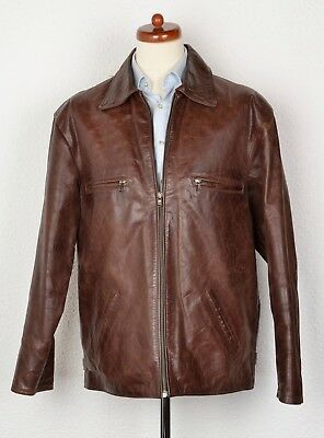 Pascal Lederjacke Leather Jacket Gr L Made in Italy Braun Brown CLASSIC Herbst