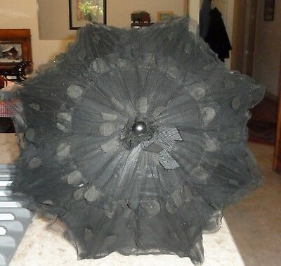Original Victorian Lace Silk Carved Folding Carriage Parasol Umbrella Polka Dots