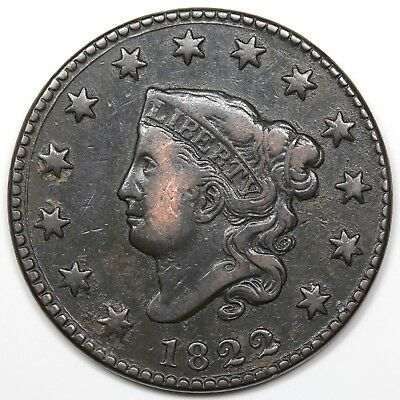 1822 Coronet Head Large Cent, VF+ detail