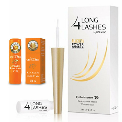 Long4lashes Wimpernserum FX5 Neue Power Formel 3ml + Lippenbalsam Exotic Fruit