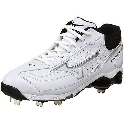 (12.5 D(M) US, White/Black) - Mizuno Men's 9-Spike Classic G6 Mid Switch