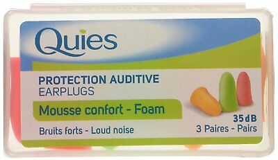 Quies Soft FOAM Ear Protection Plugs 35dB - Pack of 3 Pairs