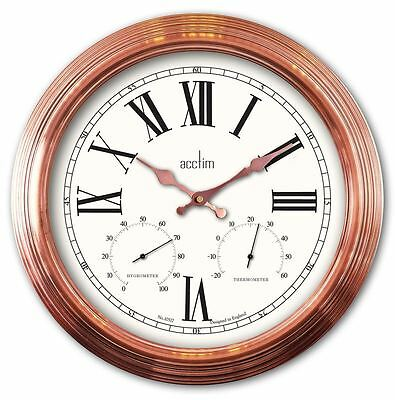 Acctim Grasmor Copper Indoor Outdoor Wall Clock with Thermometer & Hygrometer