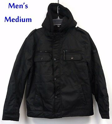 Urban Republic Mens Weather Resistant Jacket MED Black Hooded Sherpa Lined NWT