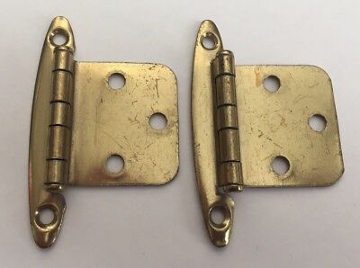 Vintage Cabinet Hardware Cupboard Hinge set of 2 Gold Tone