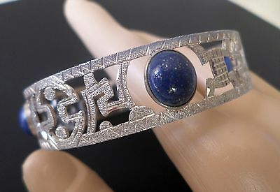 Sterling Silver and Lapis Lazuli Cabochons Open Work Tribal Ethnic Bangle Bracel