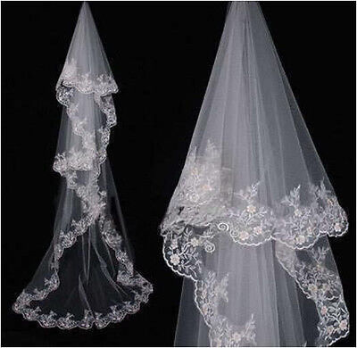 New White/Ivory 3M Cathedral Wedding Bridal Veil Lace Edge Wedding veil No comb