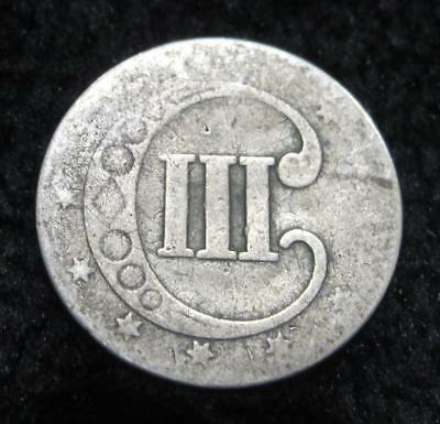 1853 Silver Three Cent * Well Circulated * 75% Silver * Trime *
