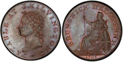 GR BRITAIN Middlesex 1795 CU Halfpenny Token PCGS MS63BN Edge: Engrailed DH346