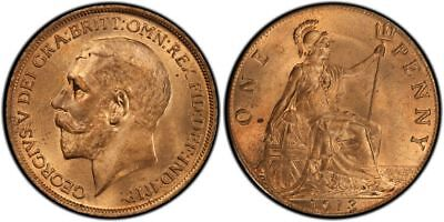 GREAT BRITAIN George V (1910-1936) 1913 AE Penny PCGS MS64RD KM810 Choice Red