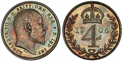 GREAT BRITAIN Edward VII 1906 AR Maundy Set PCGS PL66-67 KM MDS-163 Superb tone