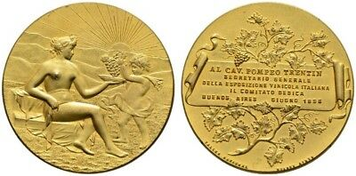 ARGENTINA 1896 Gilt Brass Medal NGC MS66 56mm Buenos Aires Wine Expo