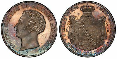 GERMAN STATES. Saxe-Altenburg. Joseph. 1843 G AR 2 Thaler. PCGS MS64 Superb tone