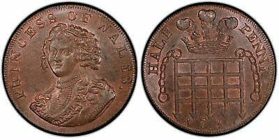 GR BRITAIN Middlesex 1795 CU Halfpenny Token PCGS MS64BN Prince of Wales DH 977.