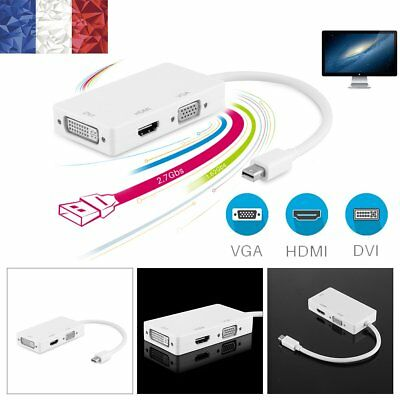 3-en-1 Mini Display Port Thunderbolt Vers DVI VGA HDMI TV Adaptateur Câble Apple