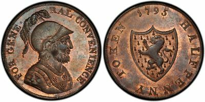 GR BRITAIN Middlesex 1795 CU Halfpenny Token PCGS MS64RB Edge: Milled DH1018a