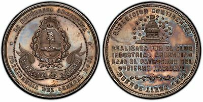 ARGENTINA 1882 AR 1st Prize Merit Medal PCGS MS63 45mm Rosa 207 Continental Expo