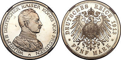 GERMAN PRUSSIA Wilhelm II 1913-A AR 5 Mark NGC PR65 Ultra Cameo Exceptional qlty